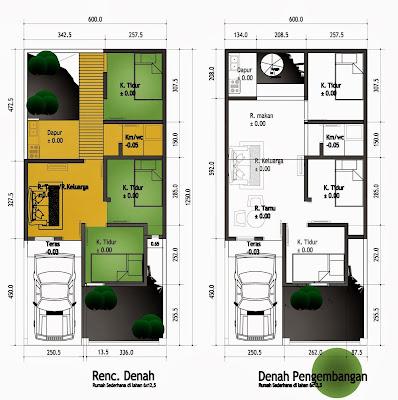 Denah Rumah 2 Lantai Minimalis Modern