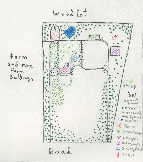 I'm not sure if you can read the key. The shape of the Mansion is distinctive, the Dining Hall is next to it, the purple square is Chapel Hall, and that red dot is the fire pit.