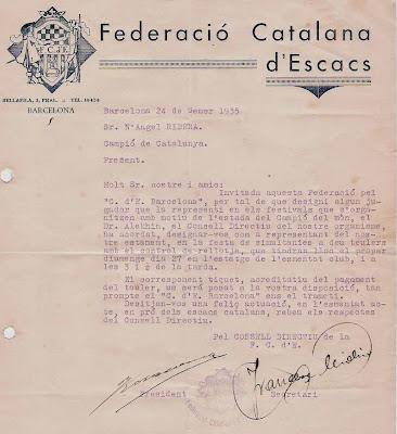 Ribera seleccionado para jugar contra Alejandro Alekhine