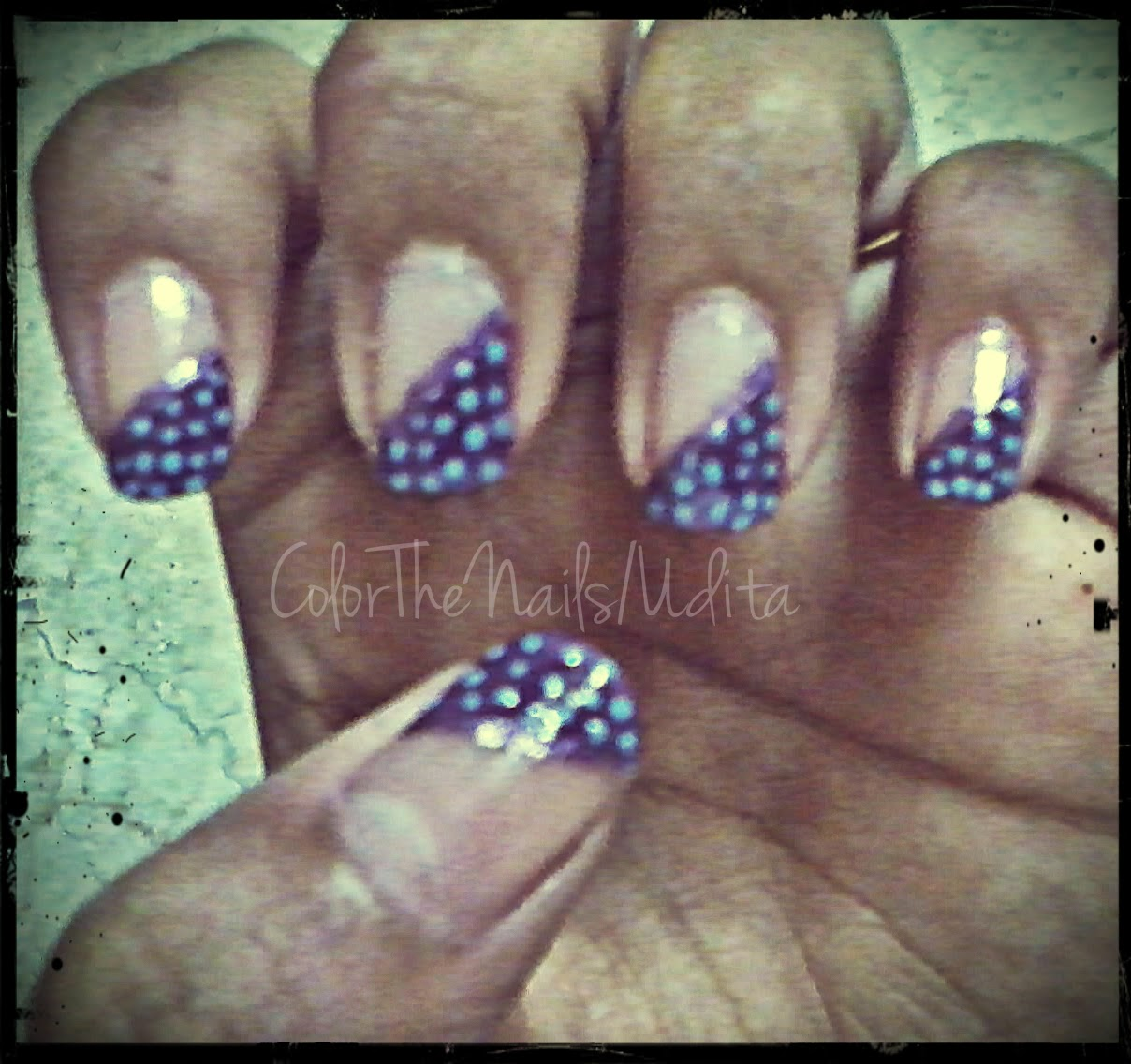 My First Ever Nail Art Design - Diagonal French | Color The Nails