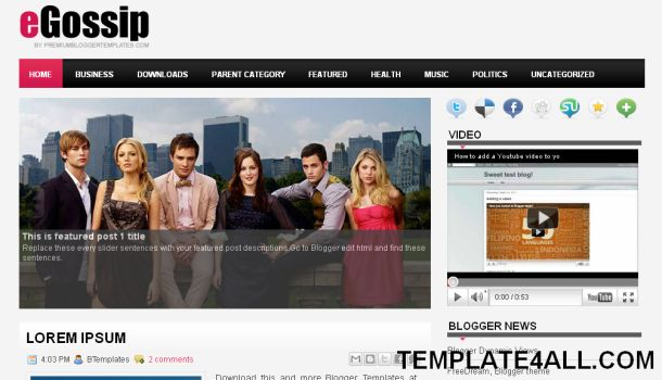Celebrity Gossip Magazine Blogger Template