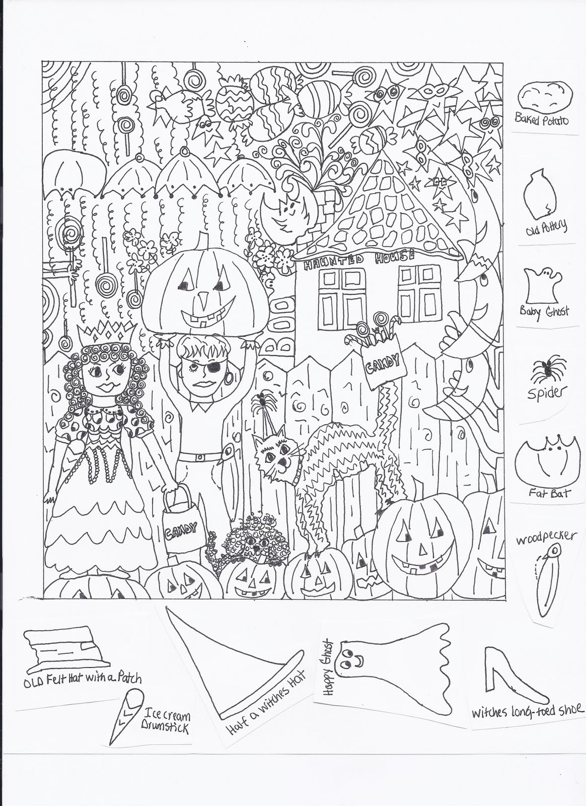 Refreshing image inside halloween hidden pictures printable