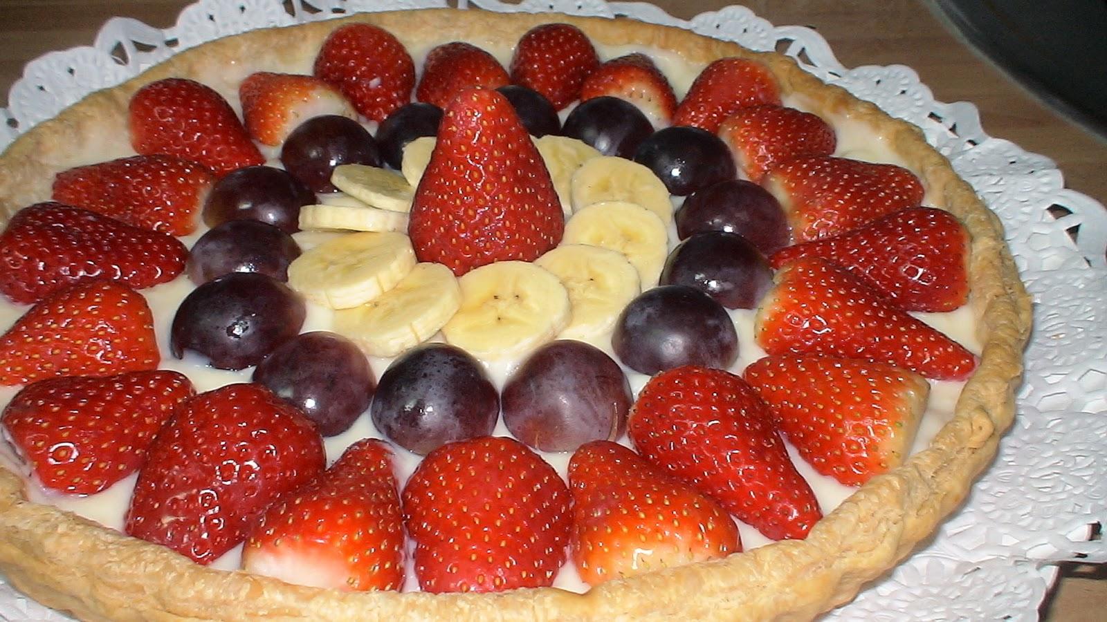 Tarta de frutas naturales - Postres con fresas naturales ...