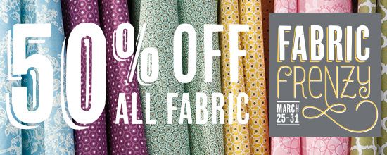 Stampin' Up! Fabric Frenzy Sale 50% Off Fabric March 25-31.