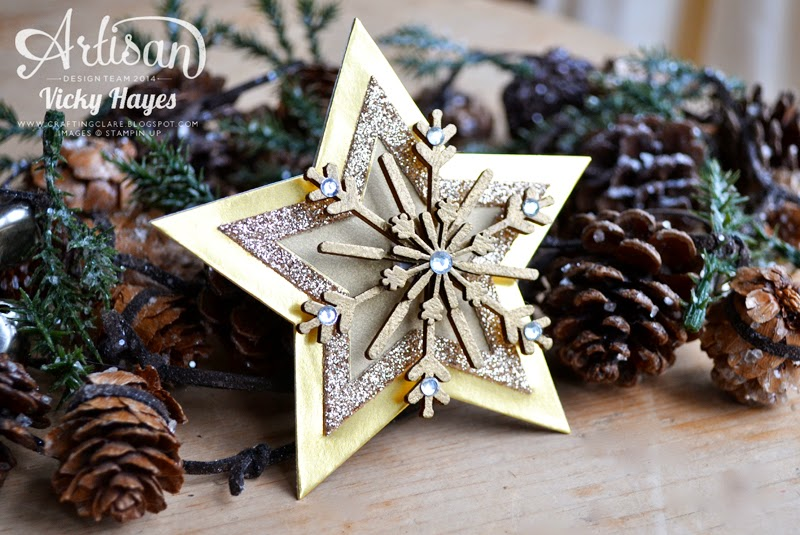 How to make a star tree topper using Stampin' Up framelits and gems