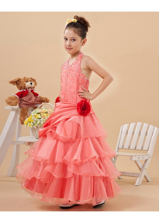 Attractive Halter Tea Length A Line Flower Girl Dresses