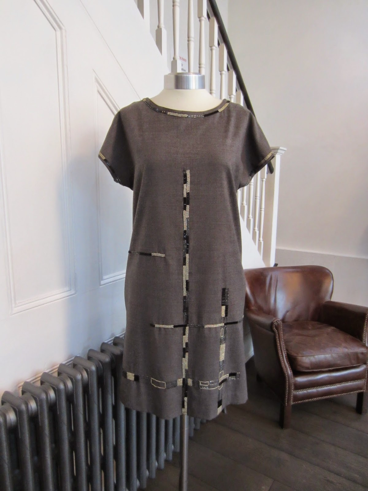 DKNY Grey Dress with Beading