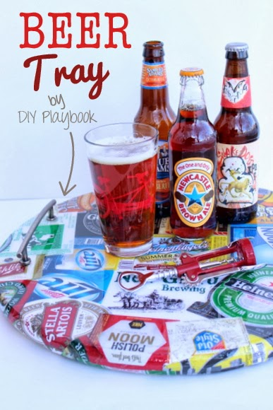 You can make this DIY beer tray for Father's Day or the beer lover in your life. This budget-friendly and personalized gift is an awesome idea for anyone who likes entertaining! #beertray #fathersday #fathersdaygift #DIYbeertray #beergift