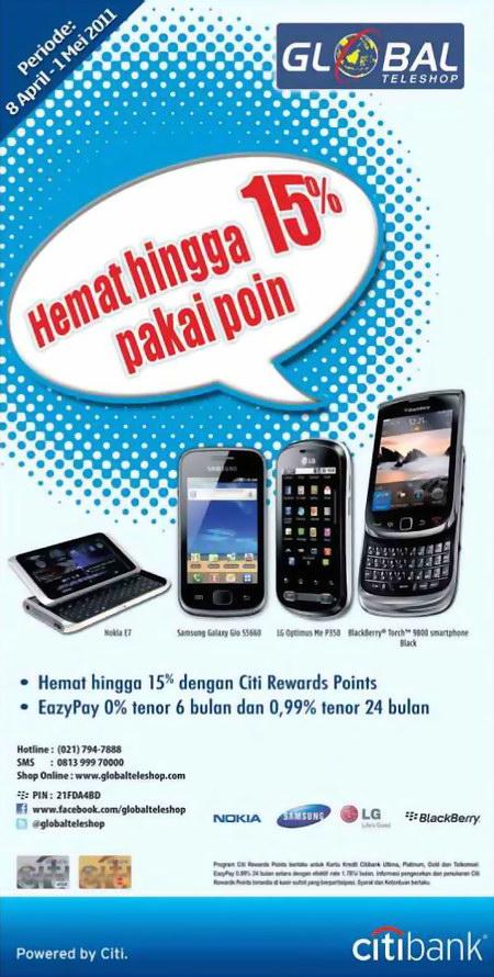 Promo BlackBerry dengan menggunakan Point Rewards Citibank di semua cabang Global Teleshop.