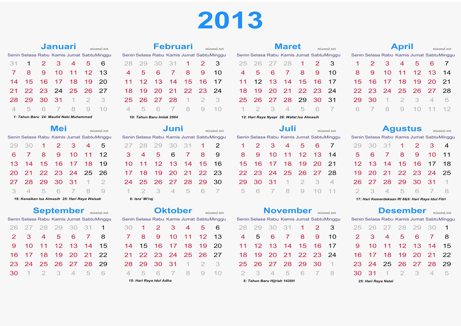 Download Kalender 2013 Indonesia Lengkap Gratis Beserta Hari Libur ...