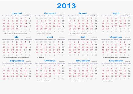 Download Kalender 2013 Indonesia Lengkap Dengan Hari Libur Nasional