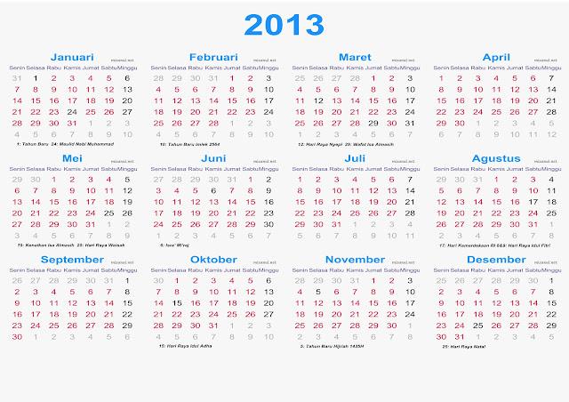 Download Kalender 2013 beserta Cuti Bersama