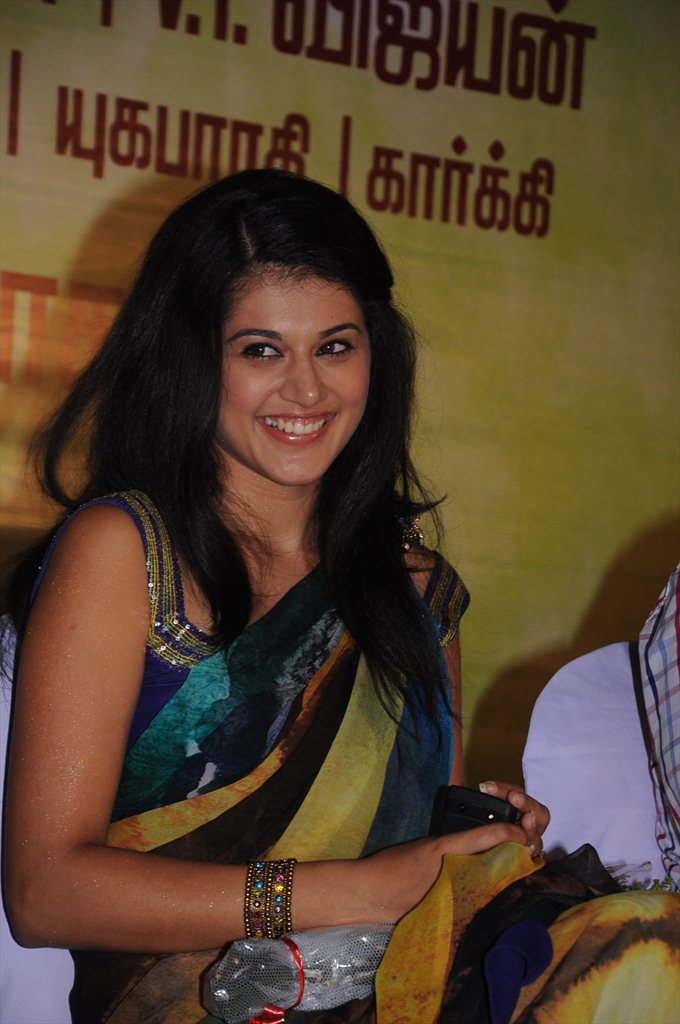 Tapsee Pannu in Saree at event1 - Tapsee Pannu Hot Pics Event in Saree - Smiling