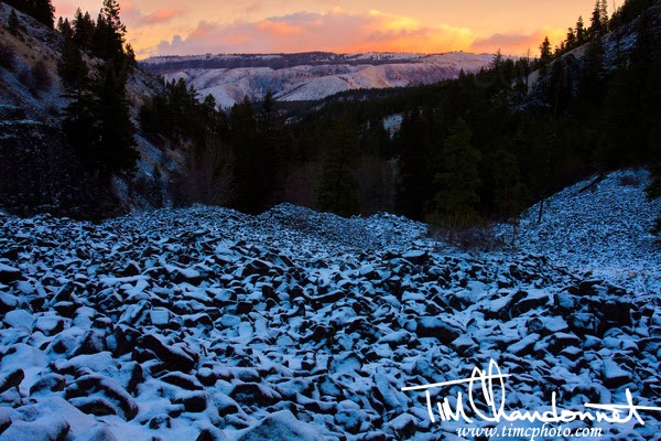 Tim Chandonnet Photography, Timcphoto, Bellingham Washington Photographer, Landscape Photographer, Sunrise seen from a basalt flow in the mountains above Rattle Snake Creek in Central Washington between Mt Rainier and the city of Yakima