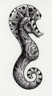 seahorse pencil drawing