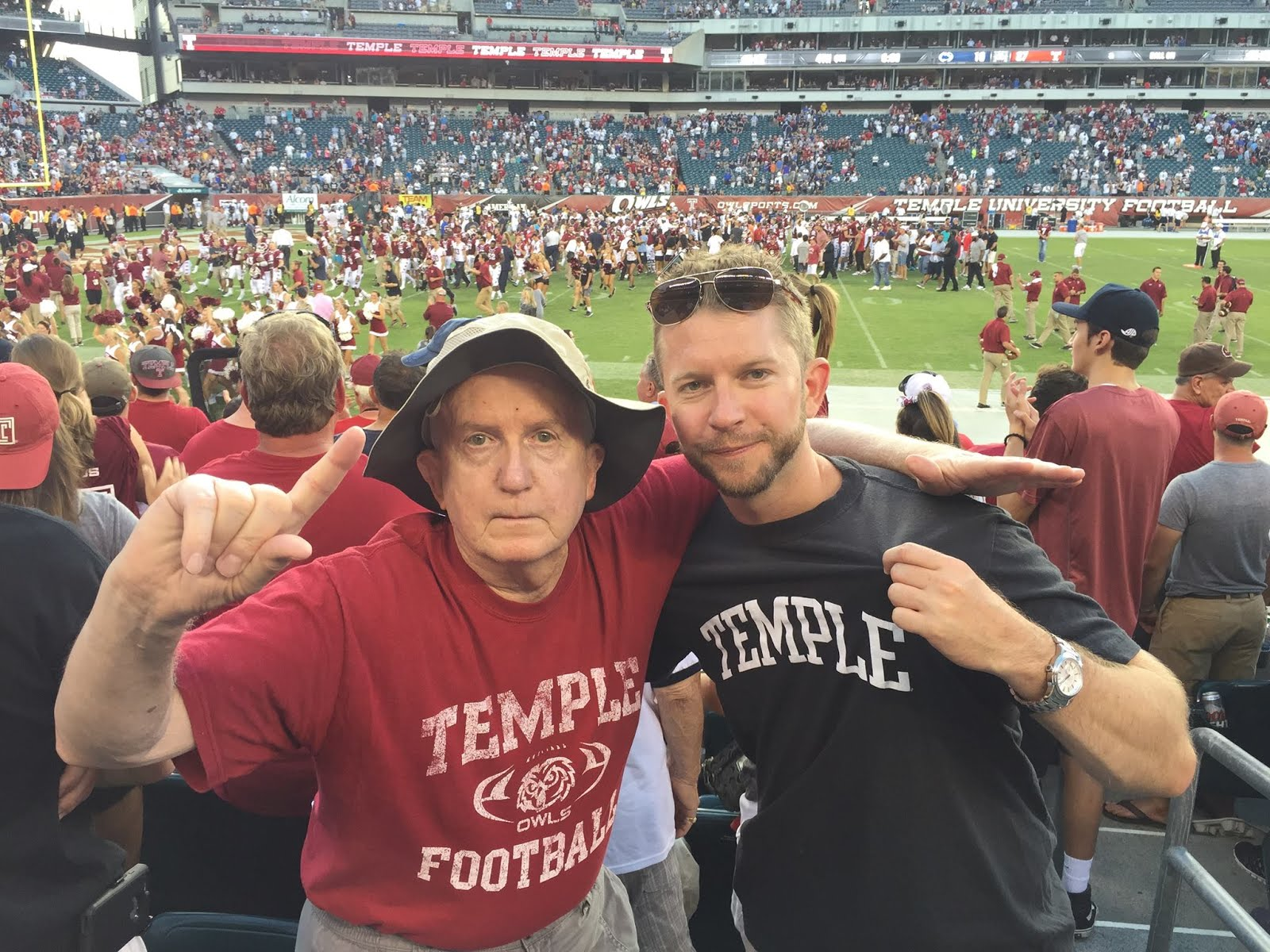 Ron and his son Matt following the Temple win over Penn State!