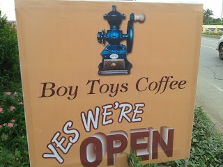 ป้ายร้านกาแฟ Boy Toys Coffee