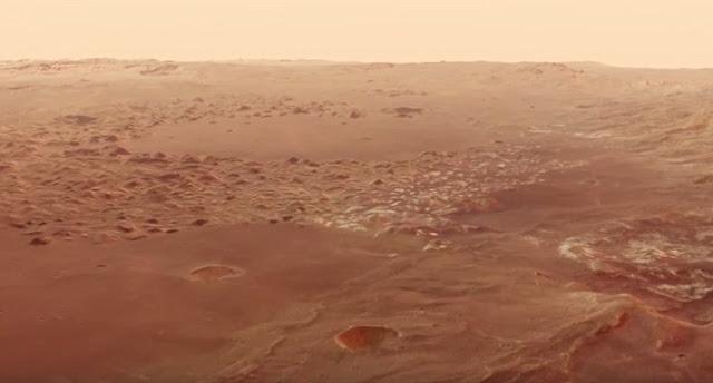 Atlantis basin leap Mars: 3D look strange geological formations