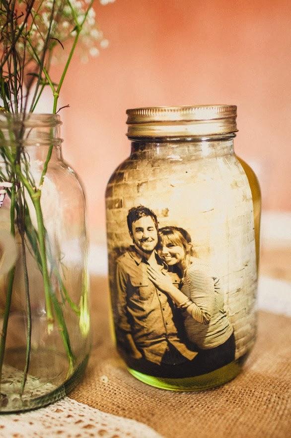 Portarretratos hechos con frascos, tarros y botellas de vidrio ...