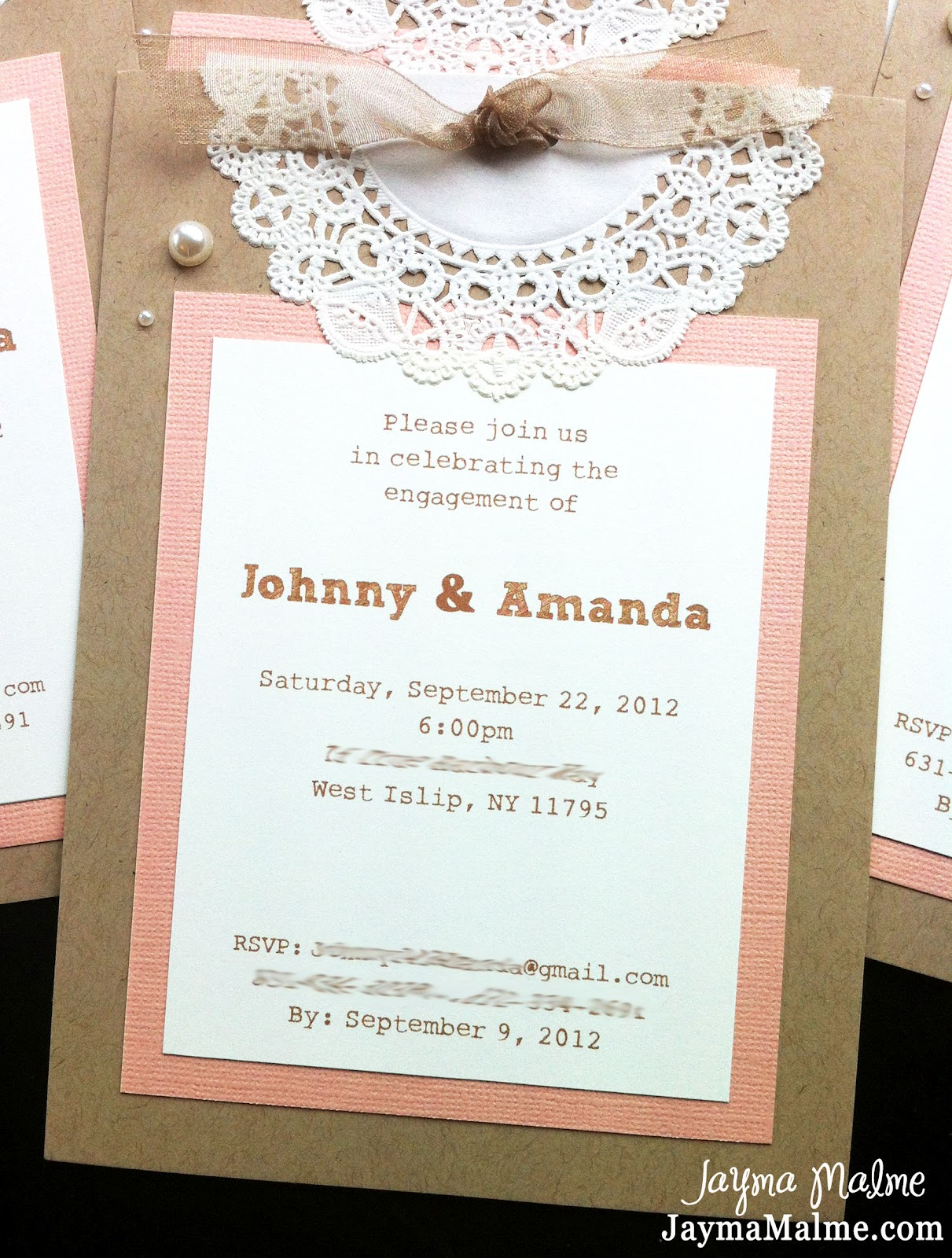 Playing with paper scrapbooks cards diy vintage doily for Invitation for engagement party