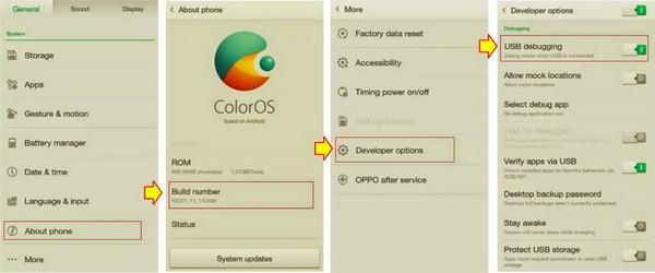 Cara Aktifkan USB Debugging Oppo Yoyo R2001