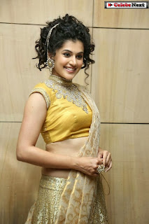 Actress Tapsee Pannu Pictures in Golden Saree at Elite Designer Fashion Show 0013