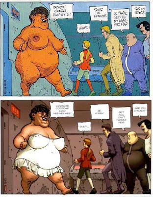Ejemplo de recoloreado en el cómic Antes del Incal