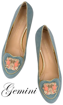 Charlotte Olympia Gemini Suede Flats Cosmic Collection