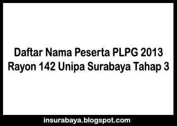 Daftar Nama Peserta PLPG 2013 Tahap 3 Rayon 142 Unipa Surabaya