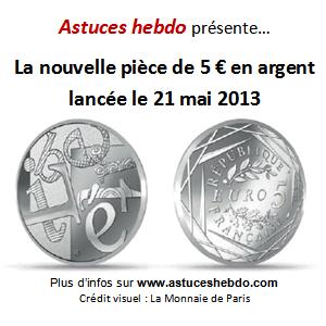 nouvelle pièce 5 euros en argent 2013