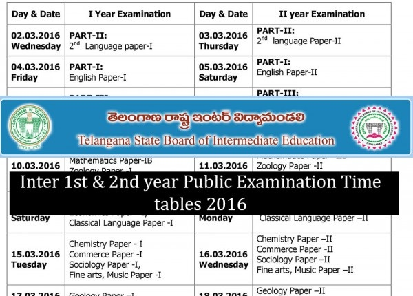 Telangana-Intermediate-1st-and-2nd-examination-Time-Table-2016