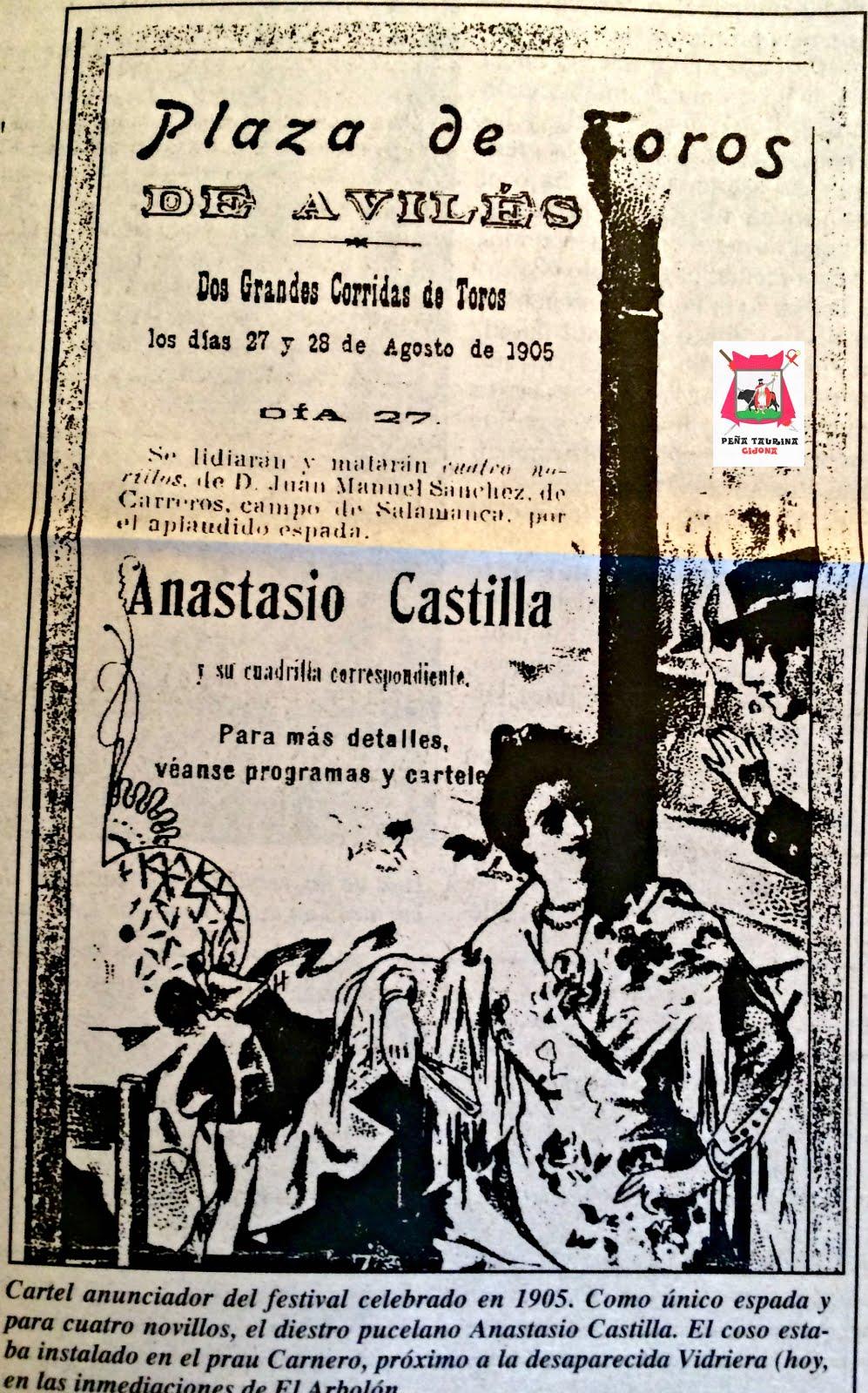 cartel toros aviles 1905