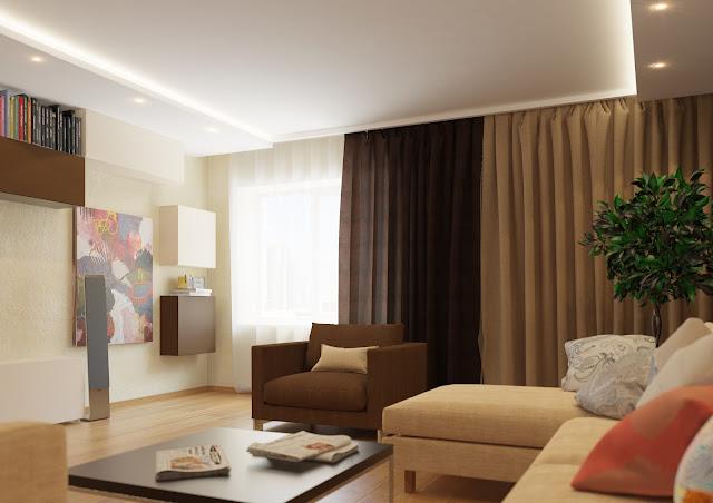 Дизайн стен зала в квартире 20 кв.м
