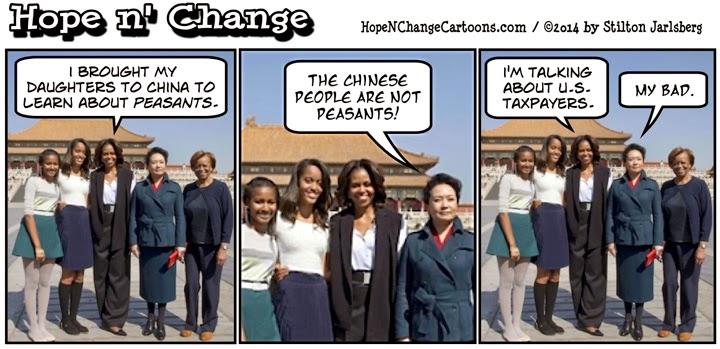 obama, obama jokes, cartoon, michelle, china, vacation, stilton jarlsberg, hope n' change, hope and change, conservative, tea party