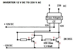 ... atau Rangkaian Merubah Tegangan DC 12 volt Menjadi AC 230 volt