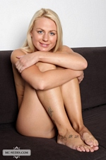Petite blonde cutie Caria spread eagle showing her pretty pink pussy - The Girls Of MCN