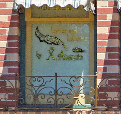 Atencio Window Disneyland Main Street lyricist writer Imagineer