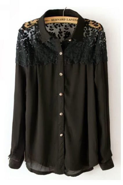 Black Long Sleeve Lace Shoulder Chiffon Blouse
