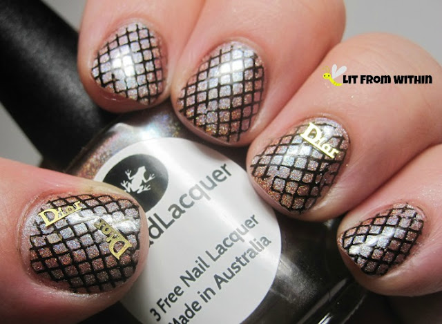 Lilypad nude, black fishnets, and a little bling bling
