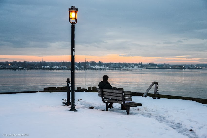 Portland, Maine Maine State Pier Bench Sitting winter sunset Old Port photo by Corey Templeton