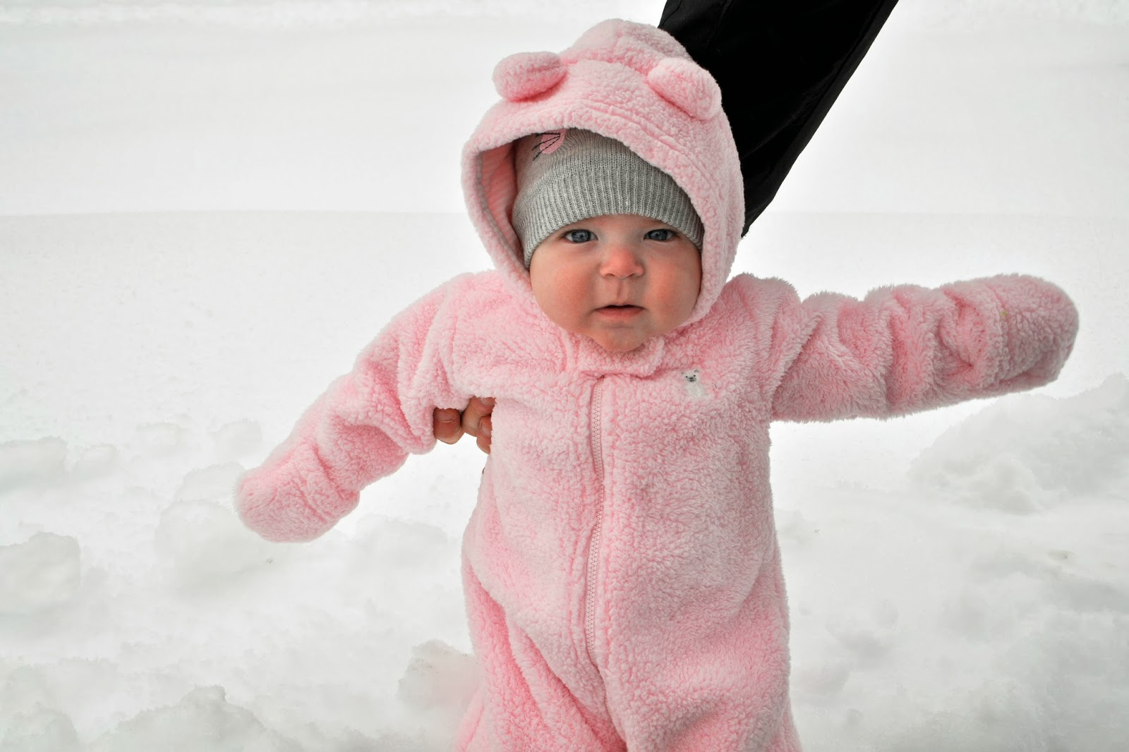 pink snow bear suit baby