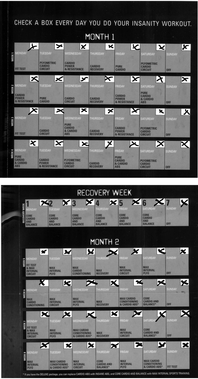 Insanity Workout Calendar Month 1 Part 2 - insanity