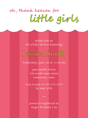 free pink baby girl baby shower invitation