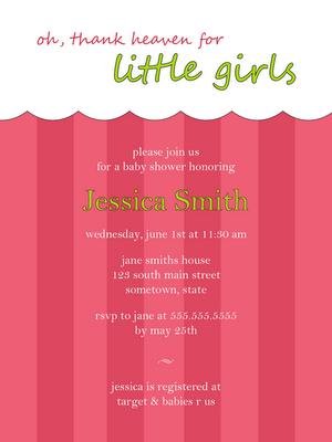 free pink baby girl baby shower invitation