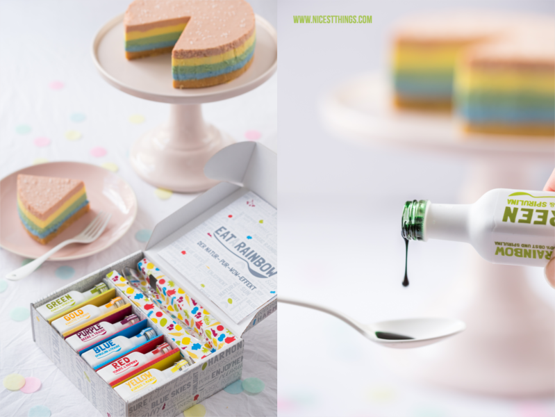 regenbogen cheesecake rezept rainbow cheesecake bunter k sekuchen ohne backen nicest things. Black Bedroom Furniture Sets. Home Design Ideas