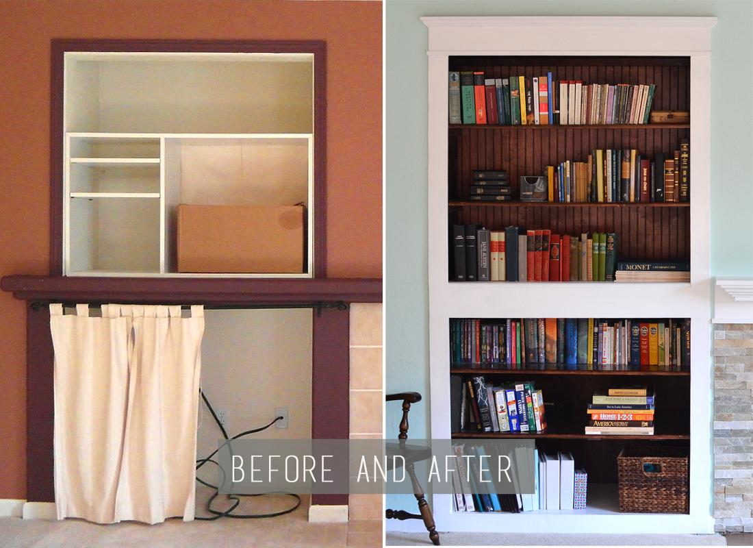 Built in bookshelves and new window plus trimming living for B q living room shelves