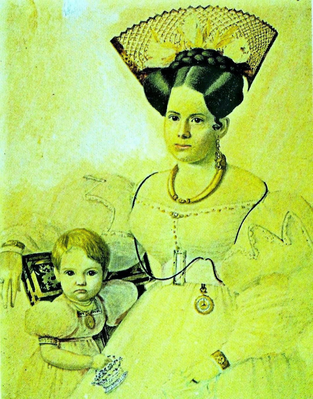 Agustina Ortiz de Rozas y su hijo Lucio