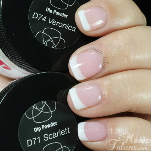Revel Nail Acrylic Dip Powder French in D71 Scarlett and D74 Veronica