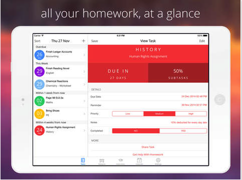 Homework management app