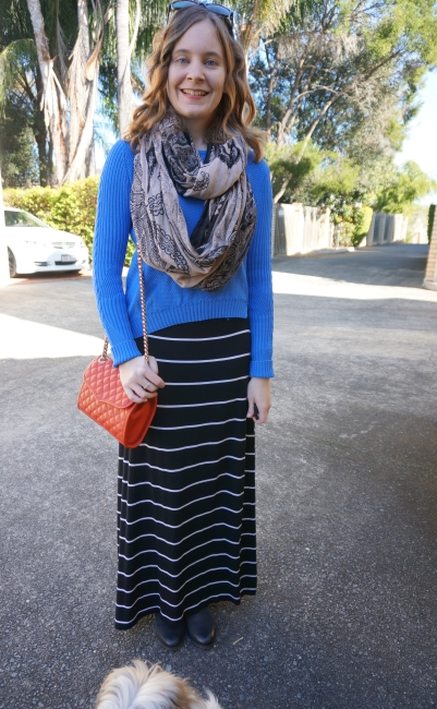 Away From Blue | Jumper, Printed Snood and Stripe Maxi Skirt Winter casual SAHM outfit